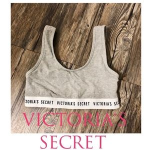 Victoria Secret Logo Print Sports Bra in Gray